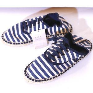 Zara Blue & Striped Canvas Espadrille Sneakers